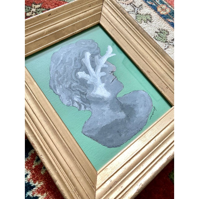 Canvas Vintage Roman Bust & Coral Fragment Painting, by Memo Faraj For Sale - Image 7 of 7