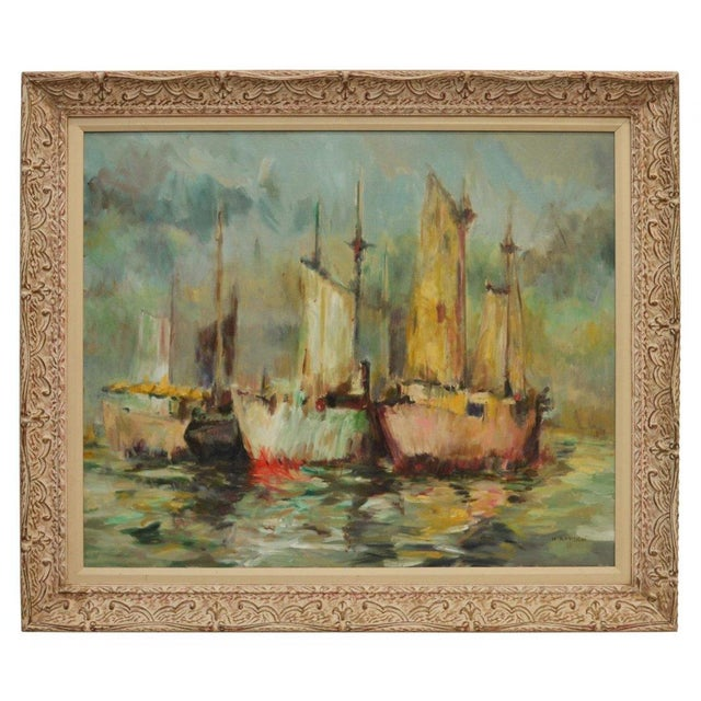 """H. Ahysen """"Menhaden Boats"""" Painting For Sale"""