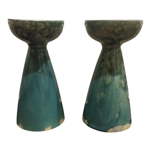 Rustic Turquoise Ceramic Candlesticks - A Pair - Image 1 of 8
