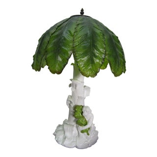 Vintage Monkey Lamp With Banana Leaf Shade, Signed For Sale