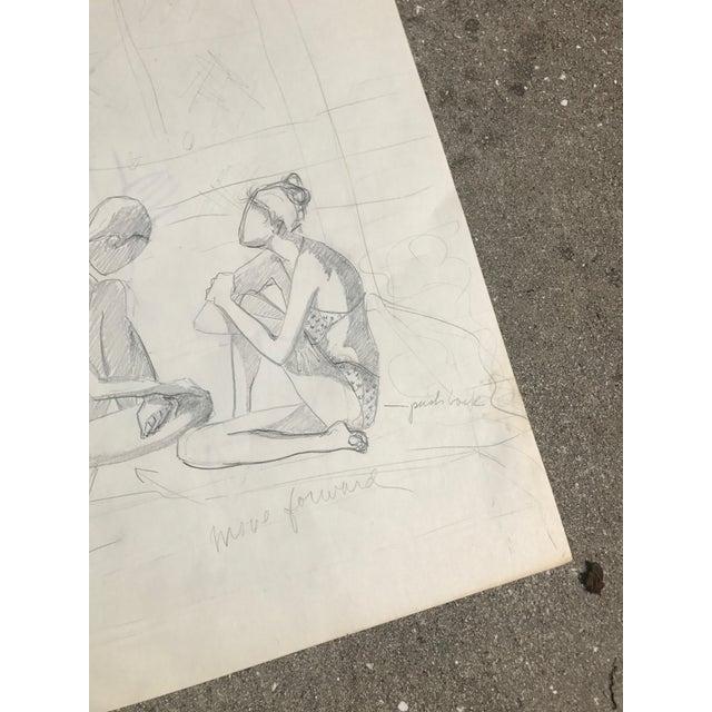 Original Midcentury California Bikini Sketch - Image 3 of 5