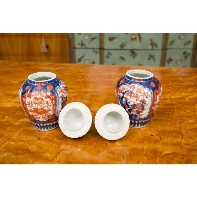 Asian 19th Century Diminutive Imari Lidded Urns - a Pair For Sale - Image 3 of 8