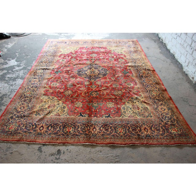 Vintage Hand-Woven Persian Rug - 7′4″ × 8′12″ - Image 4 of 9