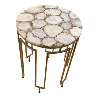 Modern Circular Side Table With Semi Precious White Agate Stone Top For Sale