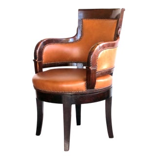 French Empire Walnut Leather-Upholstered Swivel Desk Chair For Sale