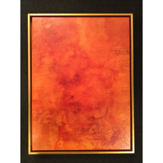 Abstract orange stretched canvas print in antiqued gold floater frame .Condition: Like new, small chip in left top corner...
