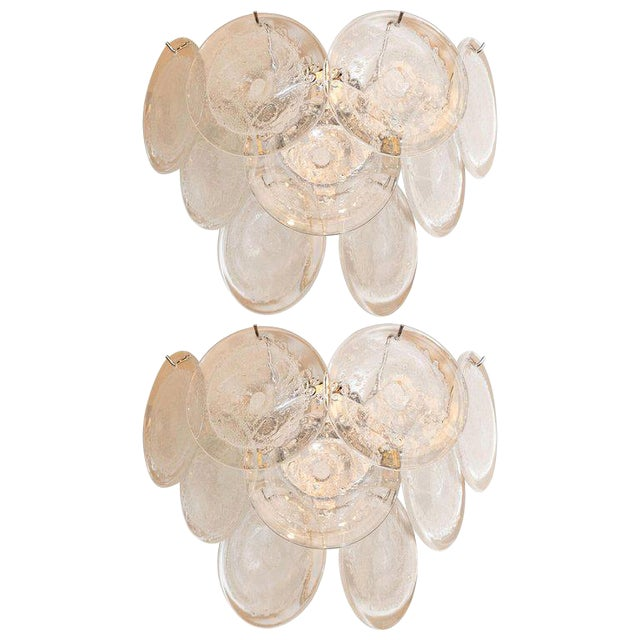 Modernist 9-Disc Hand Blown Murano Clear and Translucent Glass Sconces - a Pair For Sale