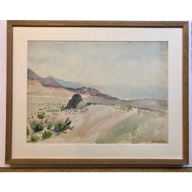 Watercolor Vintage Desert Landscape Watercolor Painting For Sale - Image 7 of 7
