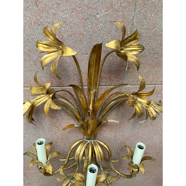 Metal Italian Mid Century Hollywood Regency Gilt Toleware Floral Sconces - a Pair For Sale - Image 7 of 13