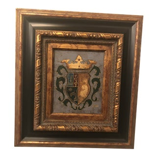 1980s Shield and Crown Oil on Canvas Painting For Sale