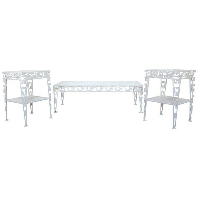Mid-Century Modern White Set of Patio Tables Coffee Pair Side For Sale - Image 12 of 12