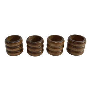 Vintage Wooden Napkin Rings - Set of 4
