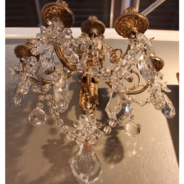 Antique French Bronze & Crystal Sconces - a Pair - Image 3 of 10