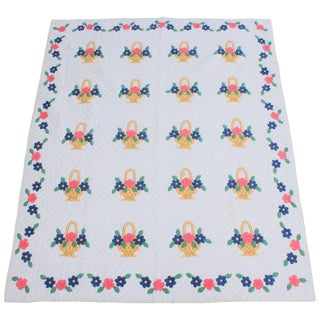Applique Flower Basket Quilt For Sale