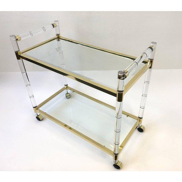 Gold Italian Brass and Lucite Bar Cart For Sale - Image 8 of 9