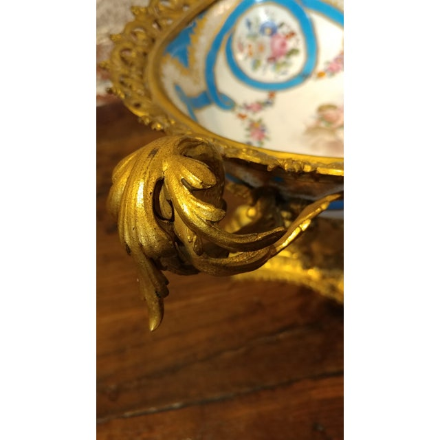 French 19th century Beautiful French Sevre Porcelain & Gilt Bronze Center piece For Sale - Image 3 of 10