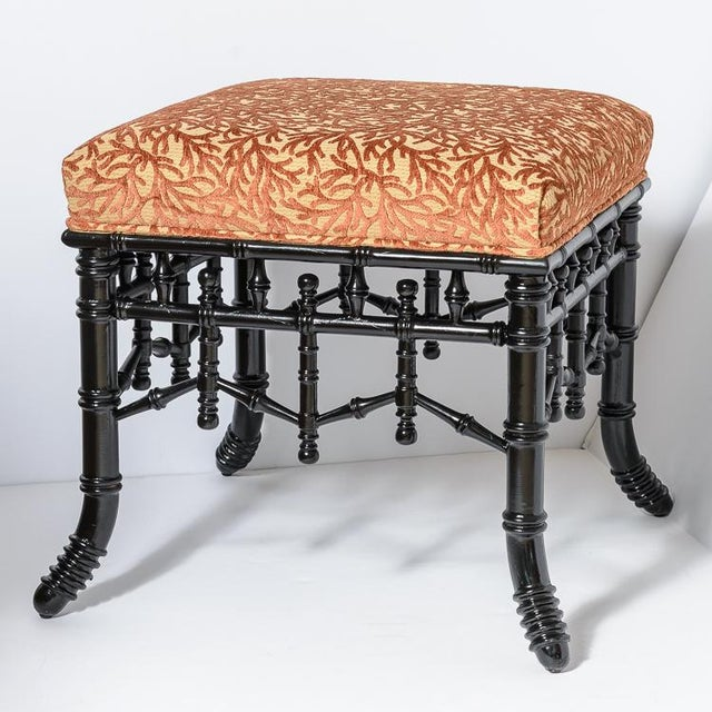 Beautiful pair of Black Lacquer Wood Faux Bamboo Ottomans with Coral Velvet Upholstery, C.1970s . Very good condition,...