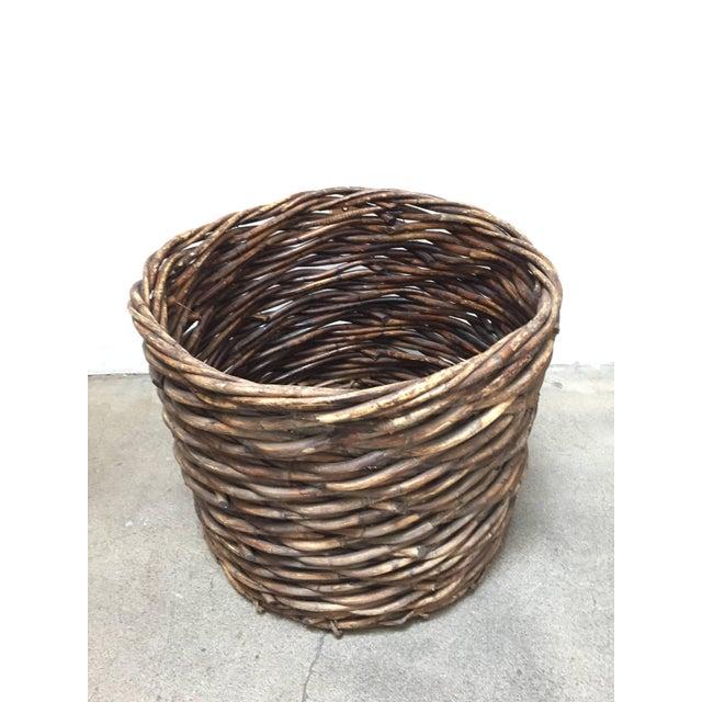 Vintage French Oversized Harvest Wicker Basket For Sale - Image 4 of 10