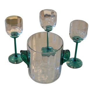 Vintage Icet Arte Murano Clear and Green Wine Glasses With Wine Cooler, Set of 4 For Sale