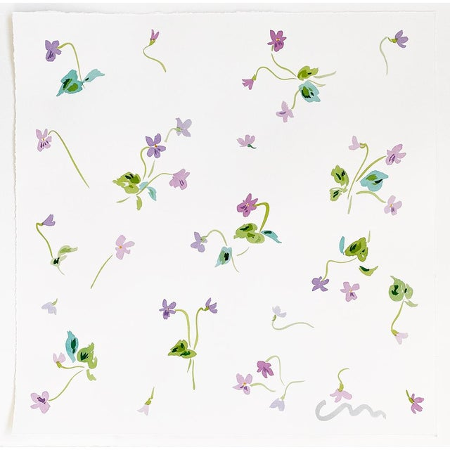 Contemporary Violets Original Watercolor Painting For Sale - Image 3 of 3