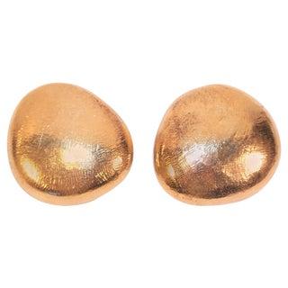 C.1990 John Iversen Sterling Silver Vermeil Pebble Earrings For Sale
