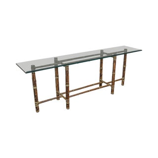 McGuire Rattan Bamboo Long Glass Top Console Table For Sale
