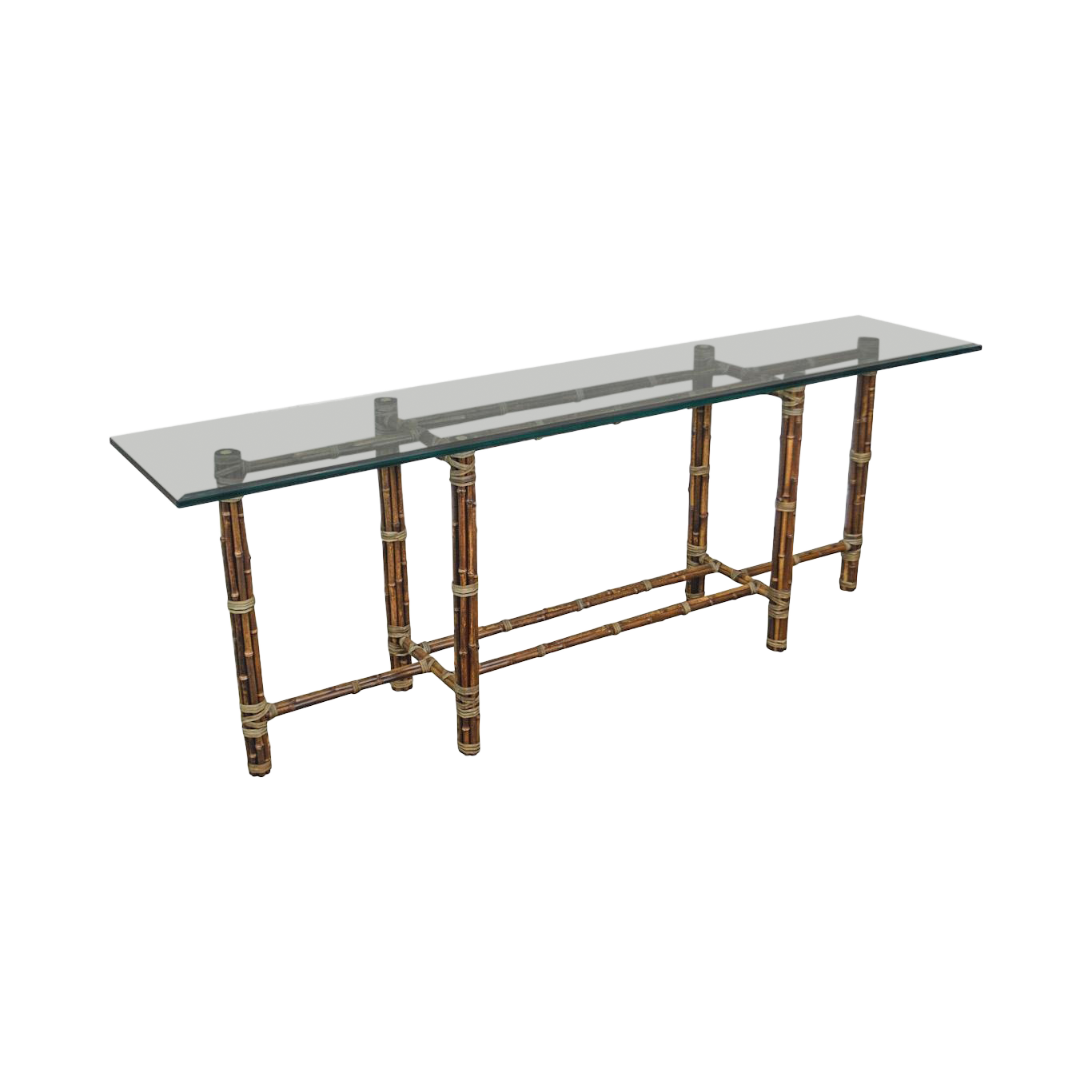 McGuire Rattan Bamboo Long Glass Top Console Table