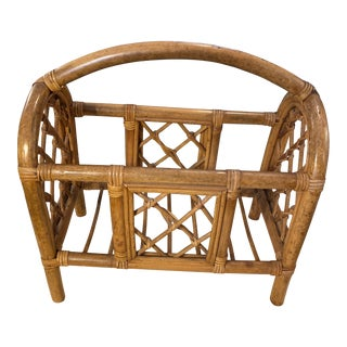 Aged Bamboo Magazine Rack For Sale