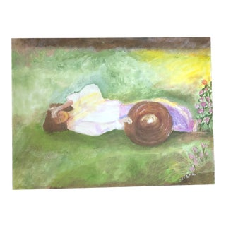 J. Booth Reproduction Acrylic Painting of a Woman Resting by Lisa Burris For Sale