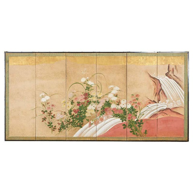 Japanese Six Panel Meiji Screen Chrysanthemums and Waterfall For Sale - Image 13 of 13