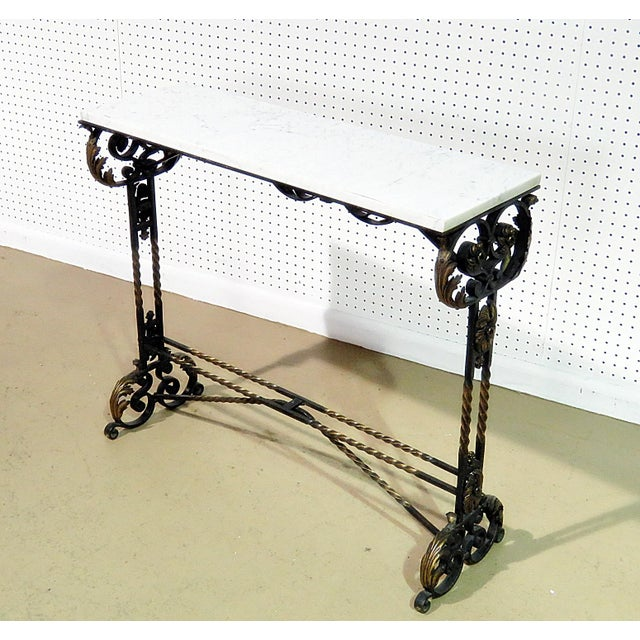 White Wrought Iron Marble Top Console For Sale - Image 8 of 8