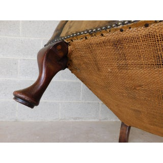 Antique English Tufted Leather Georgian Style Wingback Chair Preview