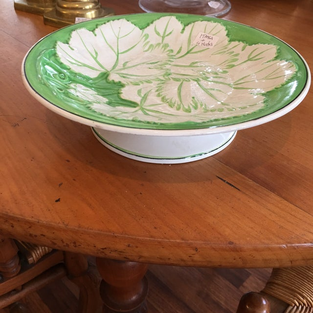 Beautiful apple green and white majolica plates (4) and matching tazza from England.