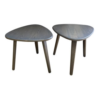 Room and Board Gray Wash Triangular Side Tables - a Pair For Sale