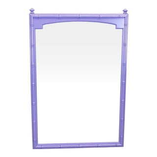 Mid Century Lavender Faux Bamboo Mirror