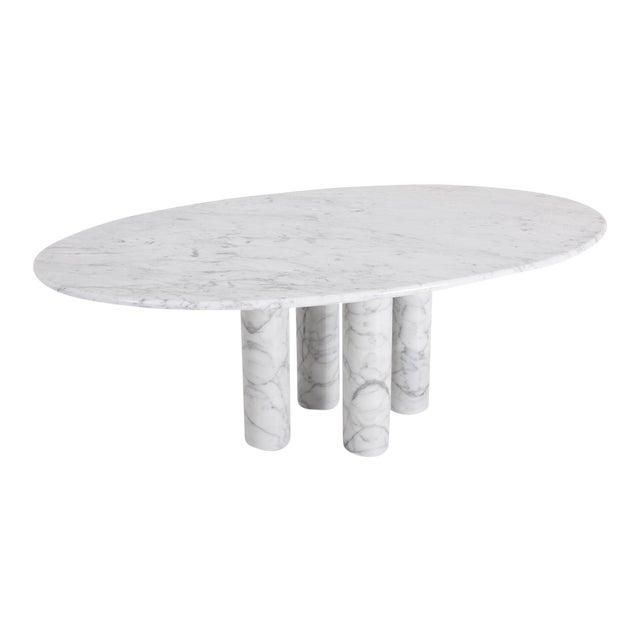 Mario Bellini Il Colonnata Oval Dining Table in Carrara Marble for Cassina For Sale