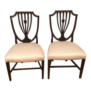Antique Hepplewhite Shield Back Side Chairs- A Pair For Sale
