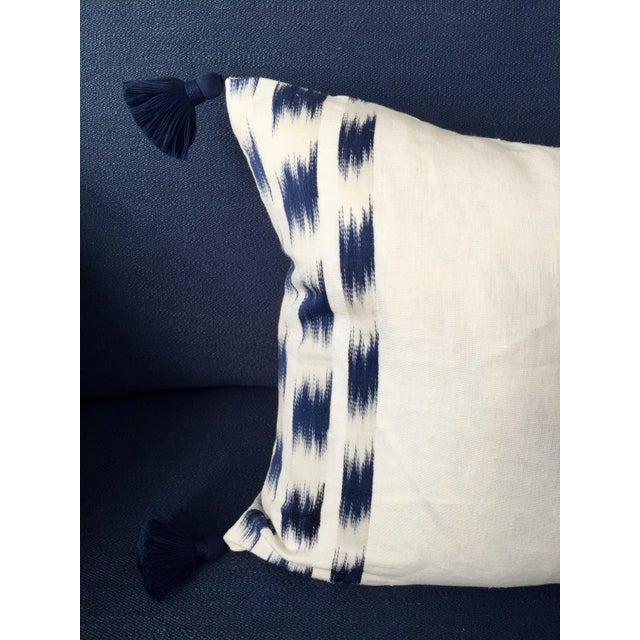 Boho Chic Custom Schumacher Izmir Striped Lumbar Pillow Cover With Navy Tassels For Sale - Image 3 of 5