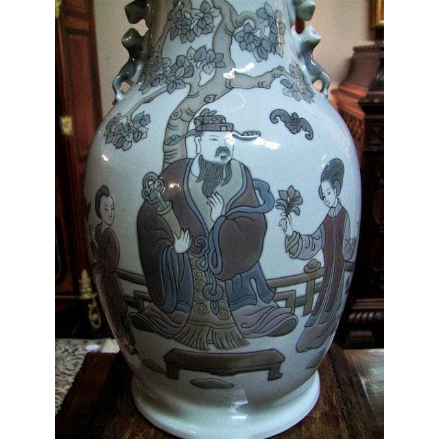 Ceramic Lladro Retired Mandarin Vases - Very Rare- A Pair For Sale - Image 7 of 12