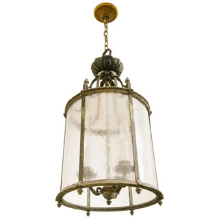 Classical 1920s Iron Lantern With Frosted Icicle Glass For Sale