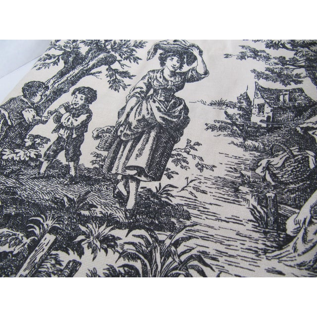 French Vintage Black & White Toile Window Valences - A Pair For Sale - Image 3 of 5