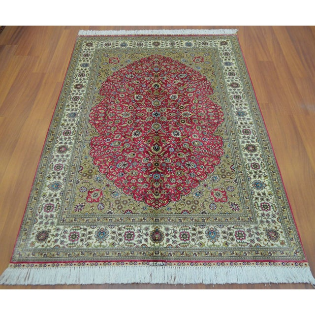 Hand Knotted Turkish Silk Rug - 4′ × 5′10″ - Image 4 of 9
