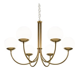 Oxford Brushed Brass 6 Arm Opal Globes Pendant Light For Sale
