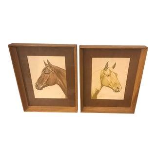 Brandt Ranch Oak Furniture 1951 Paintings in Oak Frames by Orren Mixer - a Pair For Sale