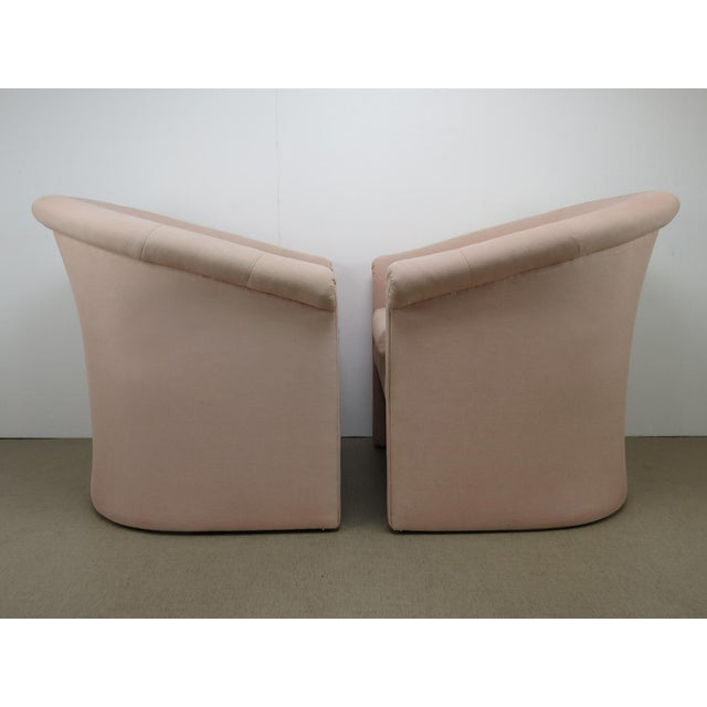 Milo Baughman 1960s Milo Baughman Style Muted Rose Pink Barrel Back Tub Chairs - a Pair For Sale - Image 4 of 13