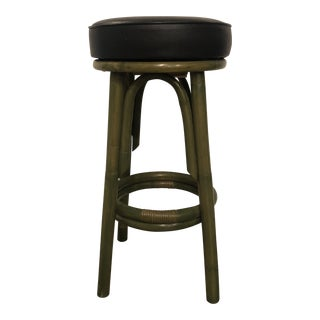 1960s Vintage Clark Casual Furniture Rattan Bar Stool For Sale