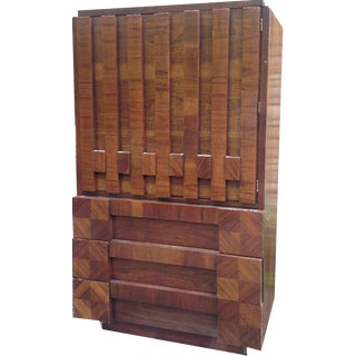 1970s Danish Modern Lane Furniture Armoire For Sale