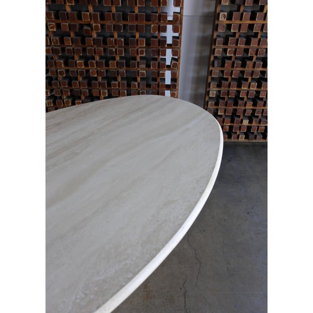 Travertine Oval Dining Table Circa 1980 For Sale - Image 9 of 11