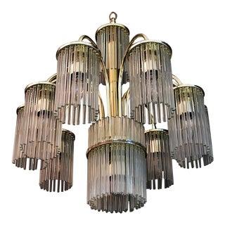 Mid-Century Modern Glass Chandelier by Sciolari For Sale