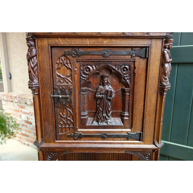 Figurative Antique French Carved Oak Gothic Vestment Cabinet For Sale - Image 3 of 11